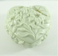 LENOX China Heart Shaped Trinket Box with Lid 24K Gold Trim w/Embossed Flowers