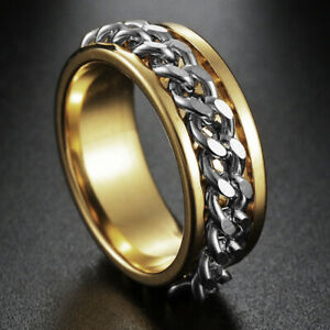 Gold Rings Womens Mens Jewelry Chain Rings Stainless Steel Rings Hip Hop Size 9