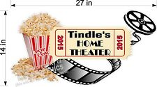 CUSTOM VINYL WALL DECAL HOME THEATER  MOVIES REELS POPCORN  YOUR NAME 14 x 27 in