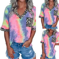 Women's Tie Dye V Neck Short Sleeve Tops T-shirt Ladies Casual Loose Blouse Tee