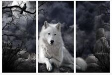 """Wolf Moon At Night Black & White Wall Art 3 x Split Panel Canvas Pictures 10x20"""""""