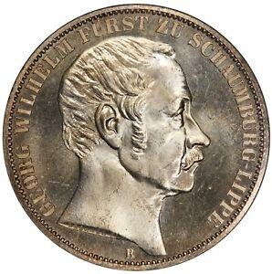 1860-B Germany Schaumburg Lippe Taler Thaler Silver Coin - NGC MS 65 - KM# 46