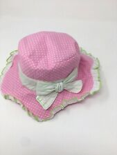 Biscotti Baby Girls Sun Hat Pink Toddler Size 2T-4T Polka Dot Ruffle Trim New