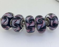 5PCS silver hallmarked Single Core Murano Glass Beads fit Charms Bracelet AOC269