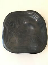 vintage art pottery plate mexican lama oaxaca Barro  Negro black old mexico