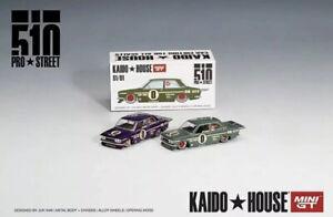 Mini GT 1:64 KaidoHouse Datsun 510 Pro Street OG Purple And Green Set Pre-Order