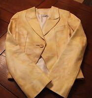 Jitrois Paris 100% Authentic Lambskin Leather Jacket, Yellow, S/M *Minor Stains*