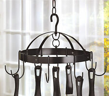 KITCHEN: Black Round Hanging Mini Pot and Pan Rack NEW