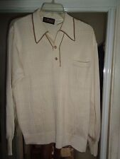 NOS L VIRANY 50's-60's Cream & Taupe Long Sleeves 2 Button Pullover ROCKABILLY L