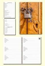Internet Password Organiser A5 Book, Cover image gold door with padlock, Gift