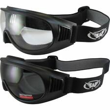 2 Pair Global Vision Trump Padded Motorcycle Goggles Black w/ Clear & Smoke Lens