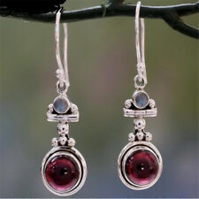 Boho Long Silver Plated Moonstone Red Agate Dangle Hook Earrings Wedding Jewelry
