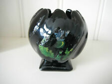 ^Vintage Art Deco Bagley Rare Black Glass Posy Bowl Ptn 3061 With Thistle Motif
