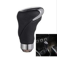 Black Leather Metal Chrome Car Auto Shifter Gear Knob Head Manual and Automatic