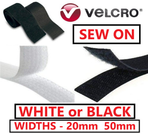 VELCRO® Brand SEW ON Hook & Loop Sewing Stitch-On Fabric Tape Strips Black White