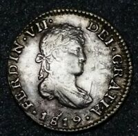 1819 JJ Mexico 1/2 Real Milled Bust King Ferdinand VII Silver Round Cob Coin