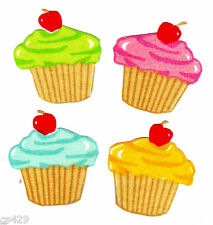4 Cupcakes with a cherry on top fabric applique iron on