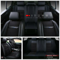 Deluxe Edition Black PU Leather+Linen Car SUV Seat Covers 5Seats Full Surrounded