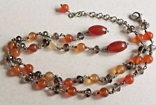 Vintage Artisan Sterling & Gemstone Y Necklace w/ Amber & Smokey Quartz