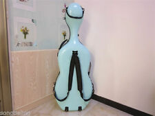 High quality Light BLUE carbon fiber composite cello case 4/4 with wheel #6986