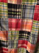 LL Bean Madras Plaid Shift Dress Jumper Patchwork Cotton Sleeveless Sz 16