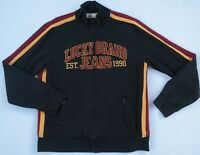 Lucky Brand Men's L/S Full Zip Black Embroidered Track Jacket Sweater - Size XL