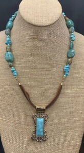Barse Papyrus Leather Necklace- Turquoise & Bronze- New With Tags