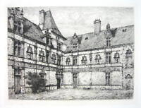 ORIGINAL ETCHING Eau Forte !! France Castle Montal View in Courtyard