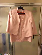 NWT Le Suite 2 Piece Skirt Suite; Sz 16; Apricot & White; Lined; MSRP $200. $90