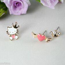 E6 Alternate Gold Plated Enamel Hello Kitty Three Single Stud Earrings Set
