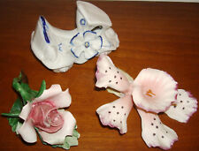 VINTAGE CAPODIMONTE FLOWER FIGURE LOT CAR ROSE LILLY