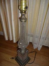 Antique Cut Glass Electric  Table Light Lamp Brass/Bronze