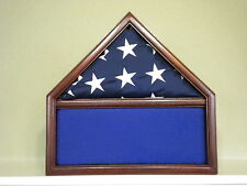 3 X 5 MAHOGANY MEMORABILIA  FLAG DISPLAY CASE USA MILITARY SHADOW BOX EAGLE
