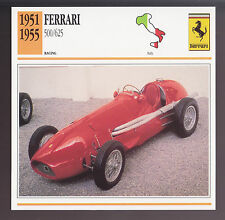 1951-1955 Ferrari 500/625 Race Car Photo Spec Sheet Info CARD 1952 1953 1954