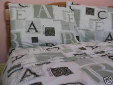 Teens Cotton Fulll Size Alphabet Duvet Cover Set Sage Green White Black Text 3PC