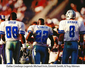 Dallas Cowboys Legends Michael Irvin, Emmitt Smith, Troy Aikma, 8x10 Color Photo