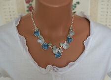 Kurz Bettelkette Statement Halskette Silber Blau Blätter Collier