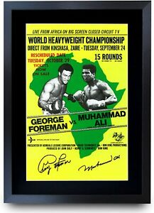 Foreman Ali Fight The Rumble in the Jungle Signed A3 Poster for Boxing Fan