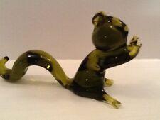 Vintage Pilgrim Hand Blown Green Glass SQUIRREL Figurine