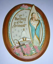 """Our Lady of the Snows 6"""" Hanging Wall Plaque with Wood Base Catholic Devotional"""
