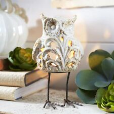 Pier One Tealight Candle Holder Owl Standing Porcelain White 2933150 New