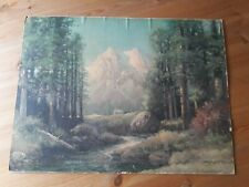 Vintage 1950s Robert Woods Print Majestic Peaks CP5229 Mountain Forest Stream