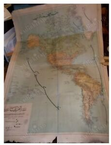 ANTIQUE North and South AMERICA WALL SIZE BIGGEST OTTOMAN MAP 1910 70 x 96 cms