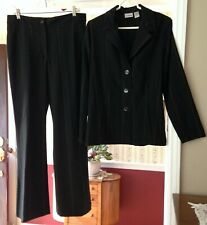 Chico's Women's 2pc Suit Blazer Pants Black Tan Stripe Career 1/1.5 M 8/10