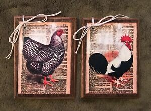 5 **NEW** Handcrafted Wooden ROOSTER Ornaments / FARM Hang Tags SET1C