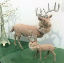 "Christmas German Silver Glitter Reindeer Set 2 Elegant Prancer 14"", Fawn 7"" Fur"