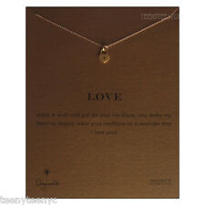 """Dogeared Gold Dipped Heart Lock Charm LOVE Necklace 14K Gold Filled 16"""" Chain NW"""