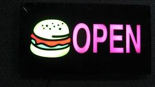 "Lighted Led Window Sign Hamburger Restaurant Open Non Neon Display 17""x 9"""