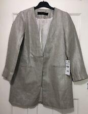 Zara Silver Toned Linen Frock Coat Size UK XS