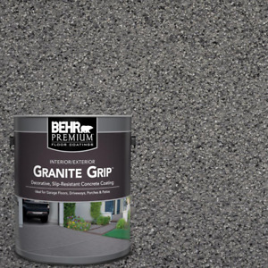 1 Gal Concrete Floor Paint Coating Gray Granite Non-Slip Garage Driveway Patio